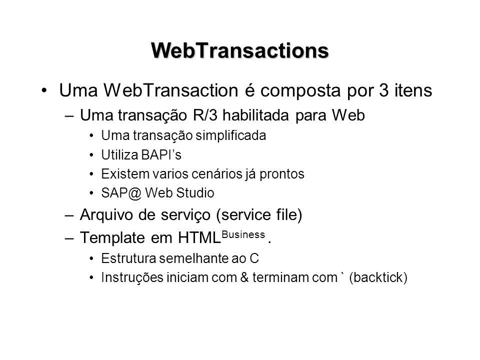 WebTransactions Uma WebTransaction é composta por 3 itens –Uma transação R/3 habilitada para Web Uma transação simplificada Utiliza BAPIs Existem vari