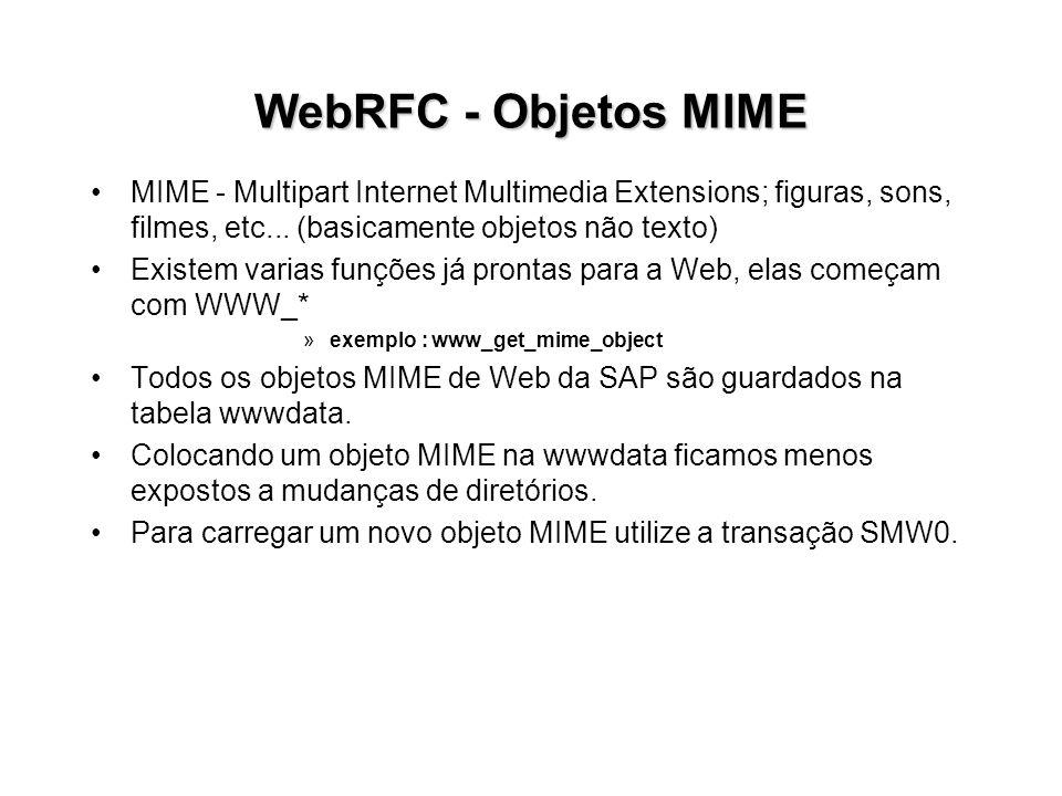 WebRFC - Objetos MIME MIME - Multipart Internet Multimedia Extensions; figuras, sons, filmes, etc... (basicamente objetos não texto) Existem varias fu