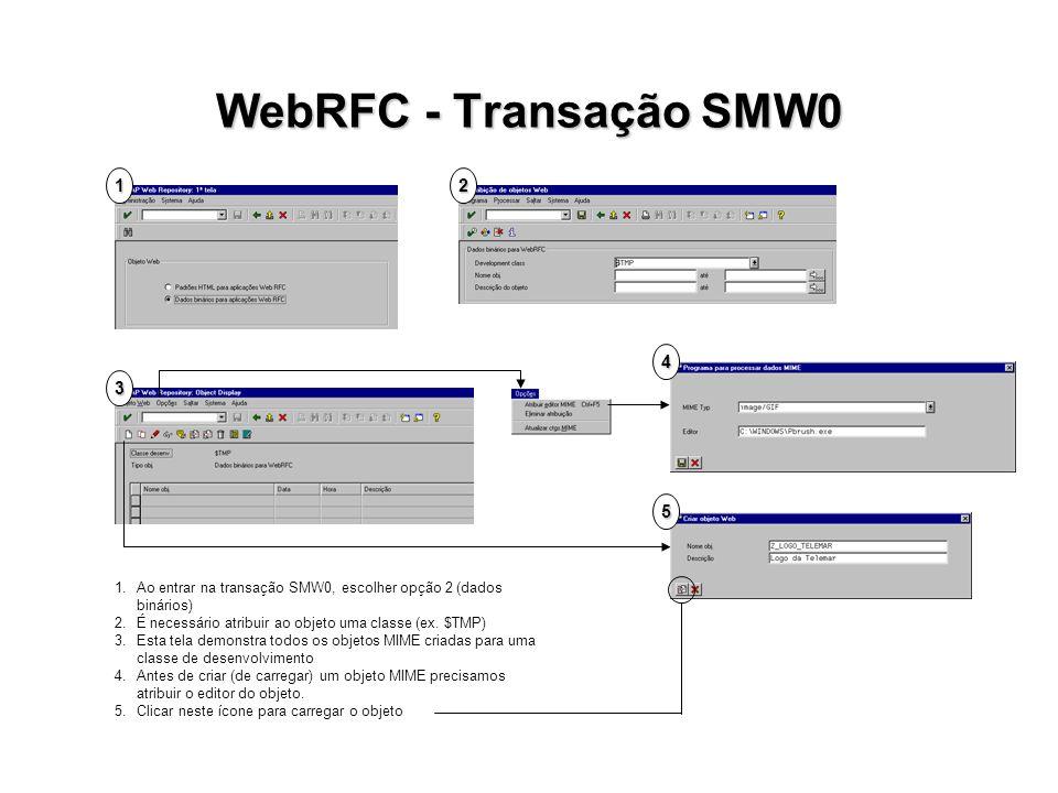 WebRFC - Transação SMW0 12 3 P 4 5 1.Ao entrar na transação SMW0, escolher opção 2 (dados binários) 2.É necessário atribuir ao objeto uma classe (ex.