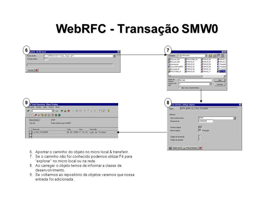 WebRFC - Transação SMW0 67 89 6.Apontar o caminho do objeto no micro local & transferir. 7.Se o caminho não for conhecido podemos utilizar F4 para exp