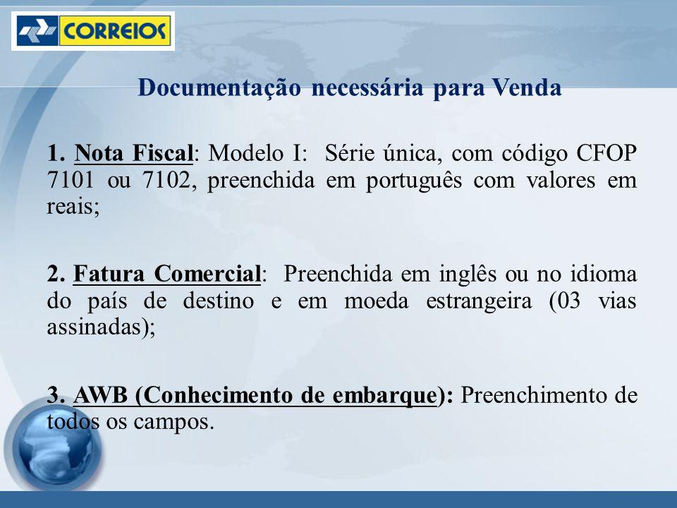 1. Nota Fiscal: Modelo I: Série única, com código CFOP 7101 ou 7102, preenchida em português com valores em reais; 2. Fatura Comercial: Preenchida em