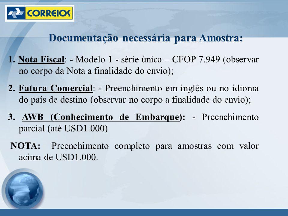 1. Nota Fiscal: - Modelo 1 - série única – CFOP 7.949 (observar no corpo da Nota a finalidade do envio); 2. Fatura Comercial: - Preenchimento em inglê
