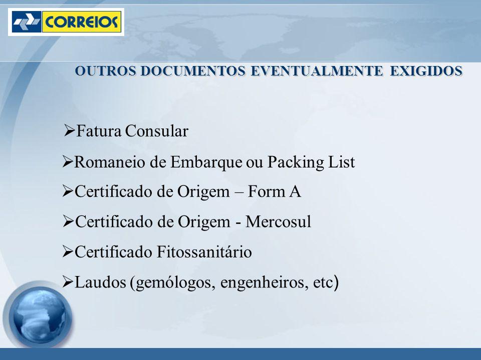 OUTROS DOCUMENTOS EVENTUALMENTE EXIGIDOS Fatura Consular Romaneio de Embarque ou Packing List Certificado de Origem – Form A Certificado de Origem - Mercosul Certificado Fitossanitário Laudos (gemólogos, engenheiros, etc)