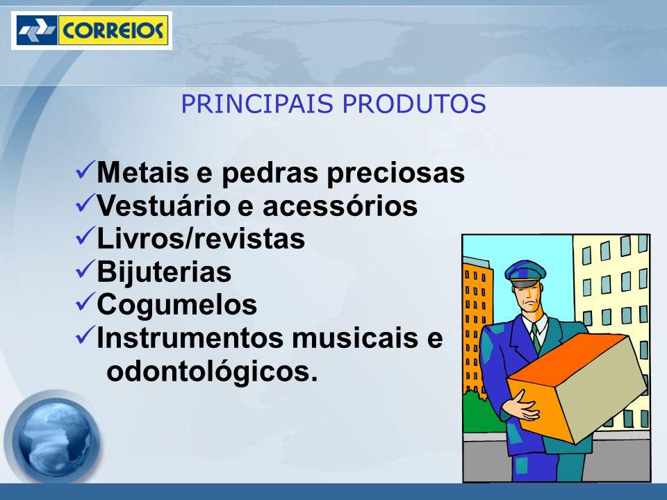 Metais e pedras preciosas Vestuário e acessórios Livros/revistas Bijuterias Cogumelos Instrumentos musicais e odontológicos.