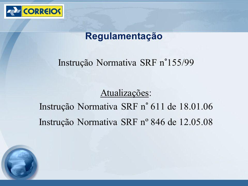 Regulamentação Instrução Normativa SRF n°155/99 Atualizações: Instrução Normativa SRF n° 611 de 18.01.06 Instrução Normativa SRF nº 846 de 12.05.08