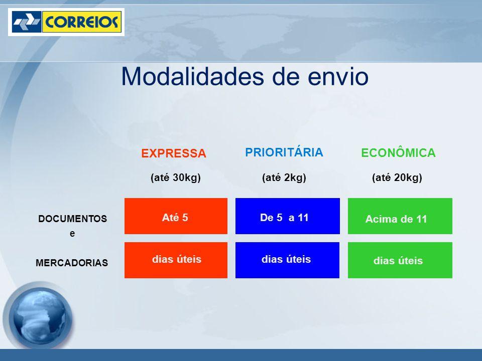 Modalidades de envio DOCUMENTOS e PRIORITÁRIA (até 2kg) MERCADORIAS Acima de 11 dias úteis (até 30kg)(até 20kg) De 5 a 11 dias úteis Até 5 dias úteis EXPRESSA ECONÔMICA