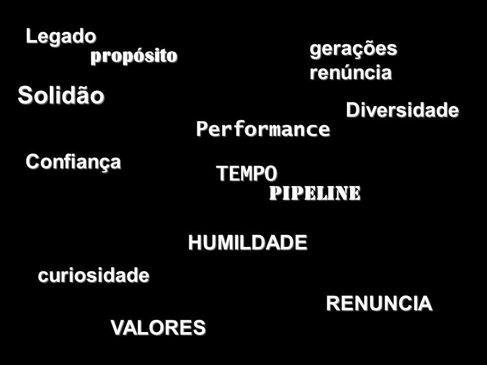 Solidão RENUNCIA curiosidade HUMILDADE geraçõesrenúncia Pipeline TEMPO Diversidade Performance Legado propósito VALORES Confiança