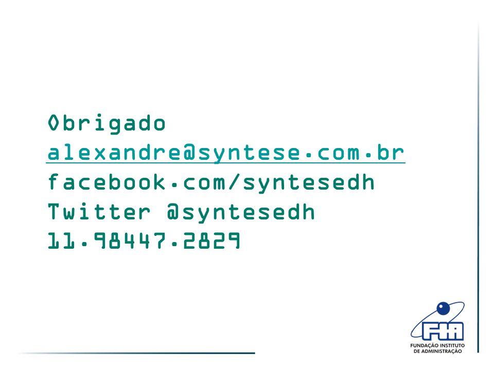 Obrigado alexandre@syntese.com.br facebook.com/syntesedh Twitter @syntesedh 11.98447.2829