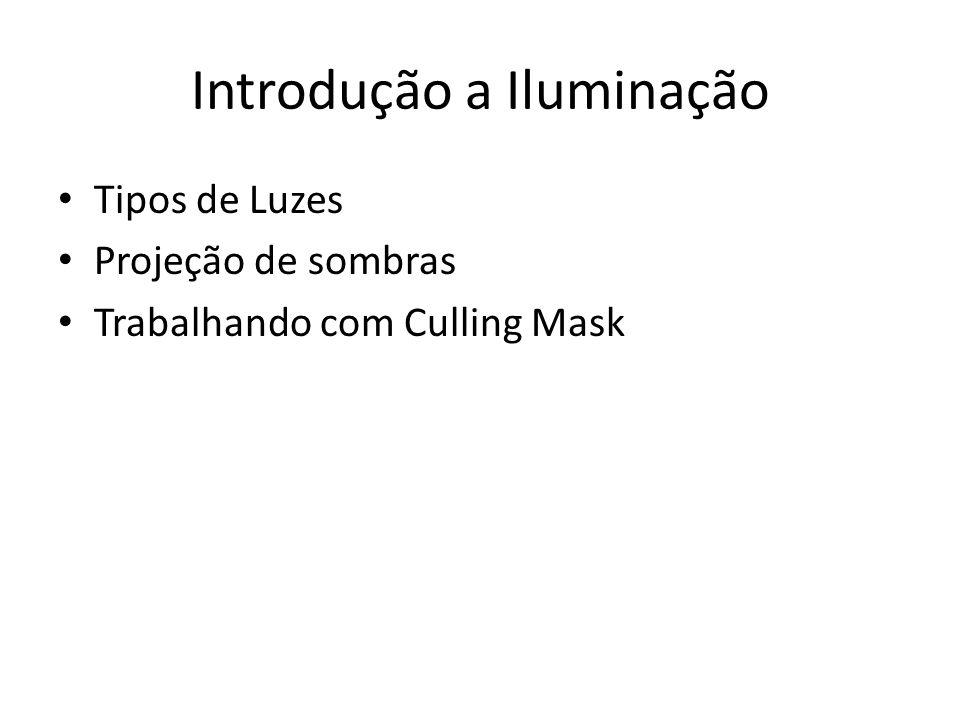 Introdução a Iluminação Tipos de Luzes Projeção de sombras Trabalhando com Culling Mask