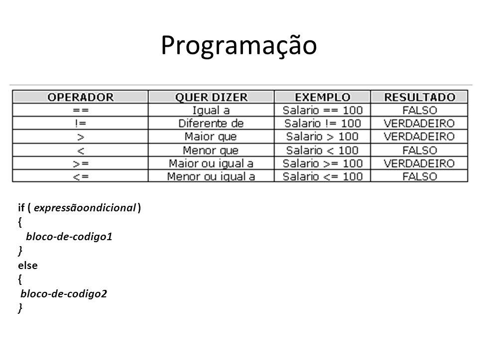 Programação if ( expressãoondicional ) { bloco-de-codigo1 } else { bloco-de-codigo2 }