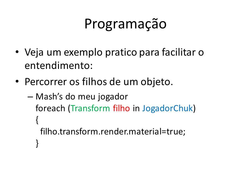 Programação Veja um exemplo pratico para facilitar o entendimento: Percorrer os filhos de um objeto. – Mashs do meu jogador foreach (Transform filho i