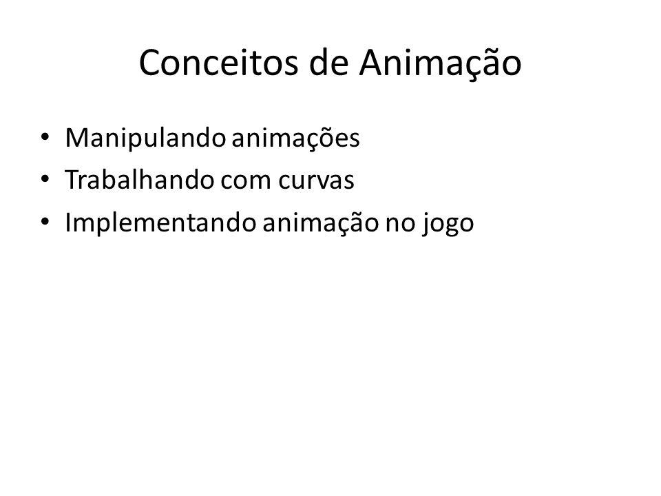 Conceitos de Animação Manipulando animações Trabalhando com curvas Implementando animação no jogo