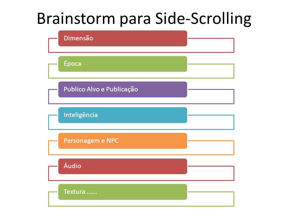 Brainstorm para Side-Scrolling DimensãoÉpocaPublico Alvo e Publicação InteligênciaPersonagem e NPCÁudioTextura......