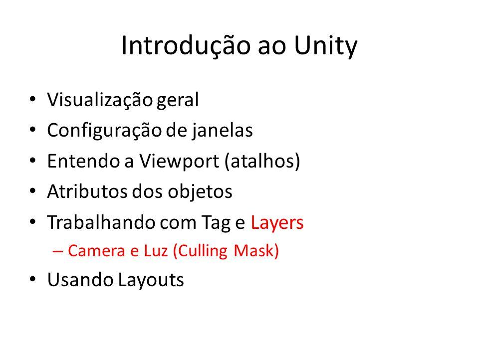 Introdução ao Unity Visualização geral Configuração de janelas Entendo a Viewport (atalhos) Atributos dos objetos Trabalhando com Tag e Layers – Camera e Luz (Culling Mask) Usando Layouts