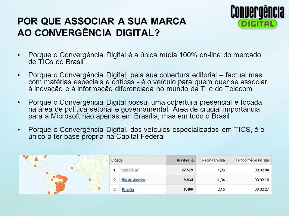 POR QUE ASSOCIAR A SUA MARCA AO CONVERGÊNCIA DIGITAL? Porque o Convergência Digital é a única mídia 100% on-line do mercado de TICs do Brasil Porque o