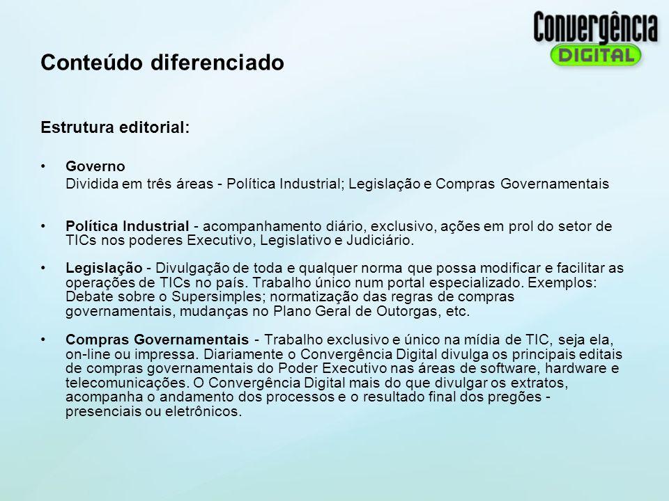 Conteúdo diferenciado Estrutura editorial: Governo Dividida em três áreas - Política Industrial; Legislação e Compras Governamentais Política Industri
