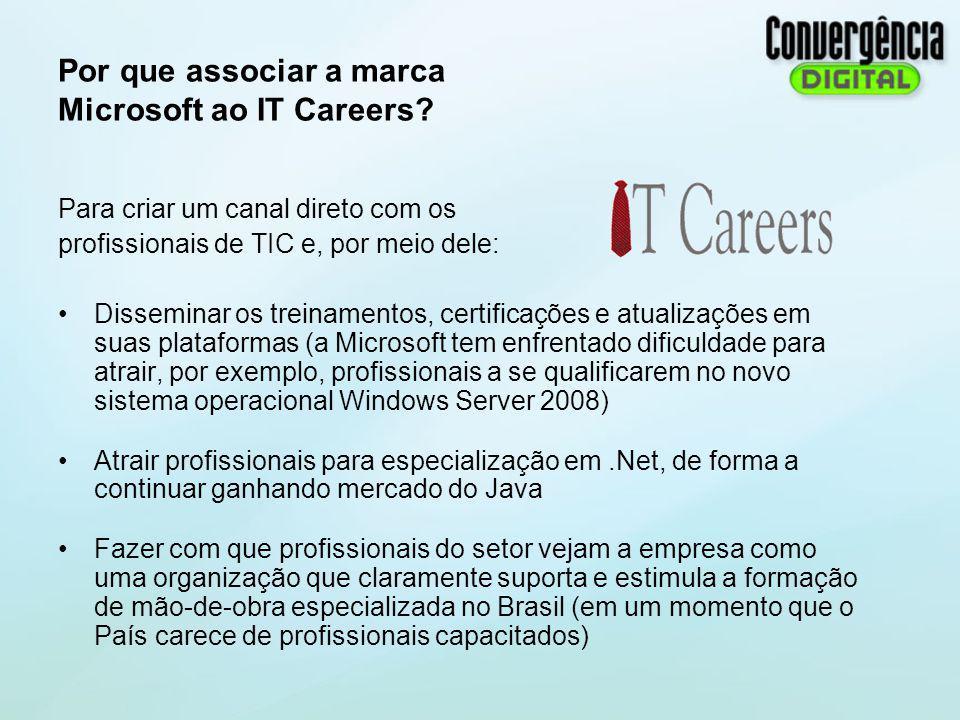 Por que associar a marca Microsoft ao IT Careers? Para criar um canal direto com os profissionais de TIC e, por meio dele: Disseminar os treinamentos,