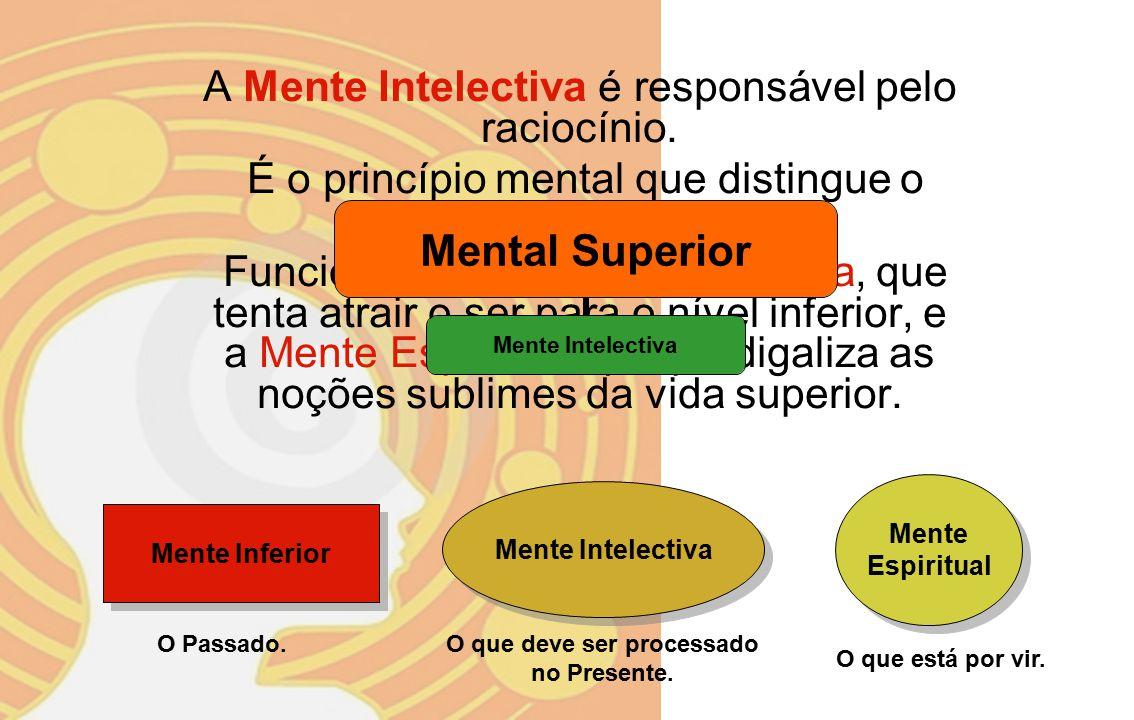 Mente Intelectiva : Raciocínio (certo/errado); Mente Objetiva : Tomar decisões, escolher, decidir pensar; Mente Espiritual : Desejos sublimes, pensamentos nobres, intuição pura.