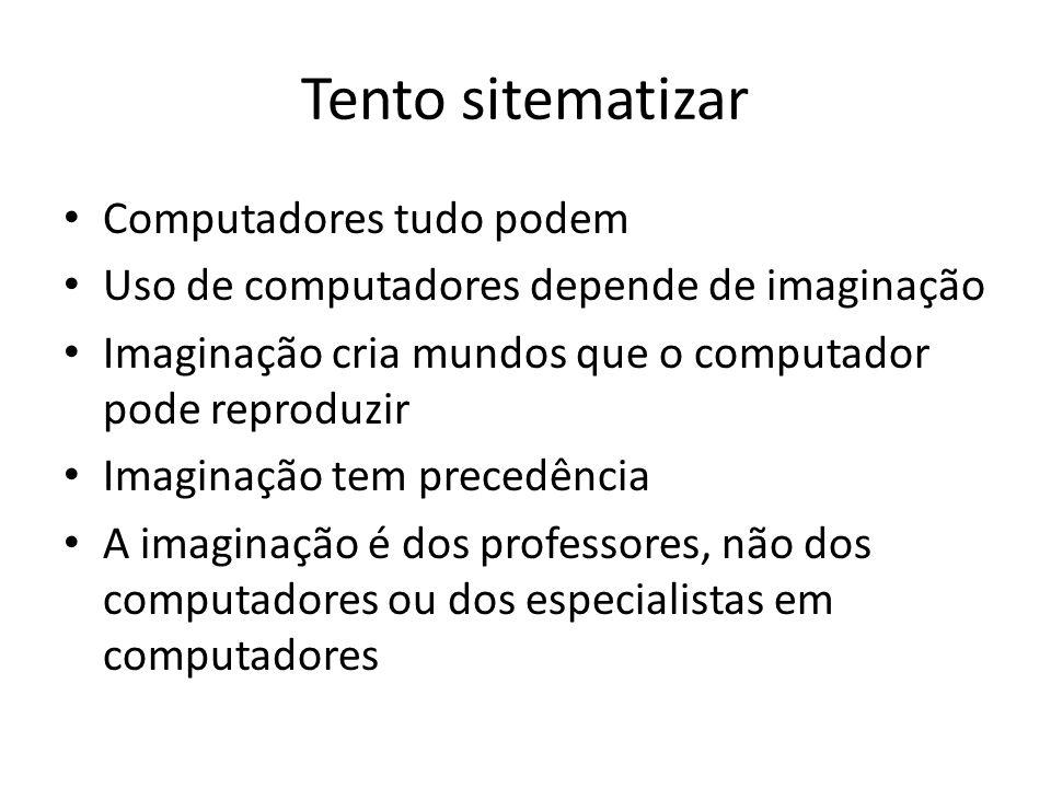 Tento sitematizar Computadores tudo podem Uso de computadores depende de imaginação Imaginação cria mundos que o computador pode reproduzir Imaginação tem precedência A imaginação é dos professores, não dos computadores ou dos especialistas em computadores