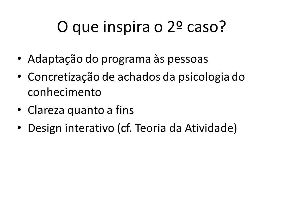 O que inspira o 2º caso? Adaptação do programa às pessoas Concretização de achados da psicologia do conhecimento Clareza quanto a fins Design interati