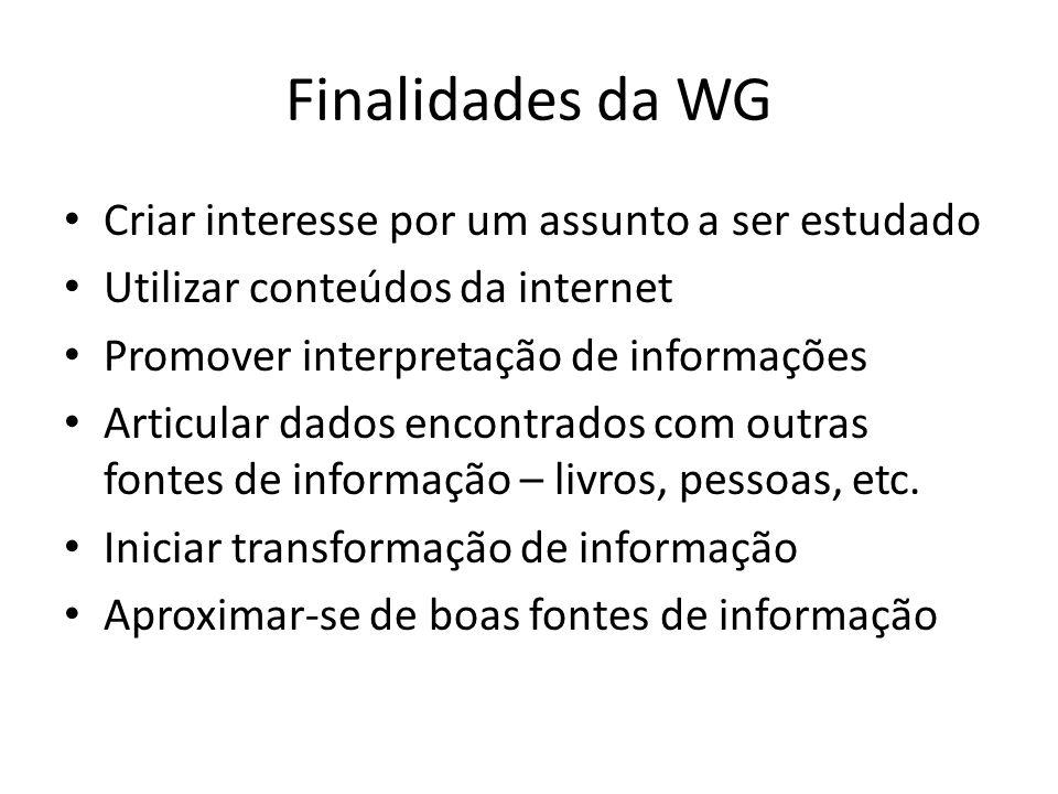 Finalidades da WG Criar interesse por um assunto a ser estudado Utilizar conteúdos da internet Promover interpretação de informações Articular dados e