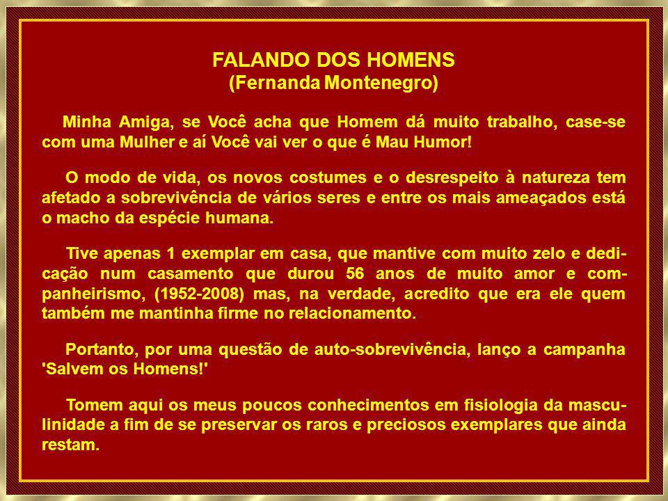 FALANDO DOS HOMENS (Fernanda Montenegro) Minha Amiga, se Você acha que Homem dá muito trabalho, case-se com uma Mulher e aí Você vai ver o que é Mau Humor.