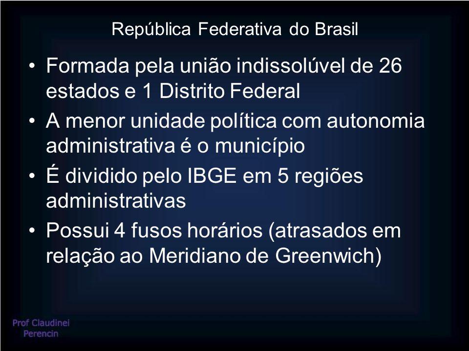 República Federativa do Brasil Formada pela união indissolúvel de 26 estados e 1 Distrito Federal A menor unidade política com autonomia administrativ