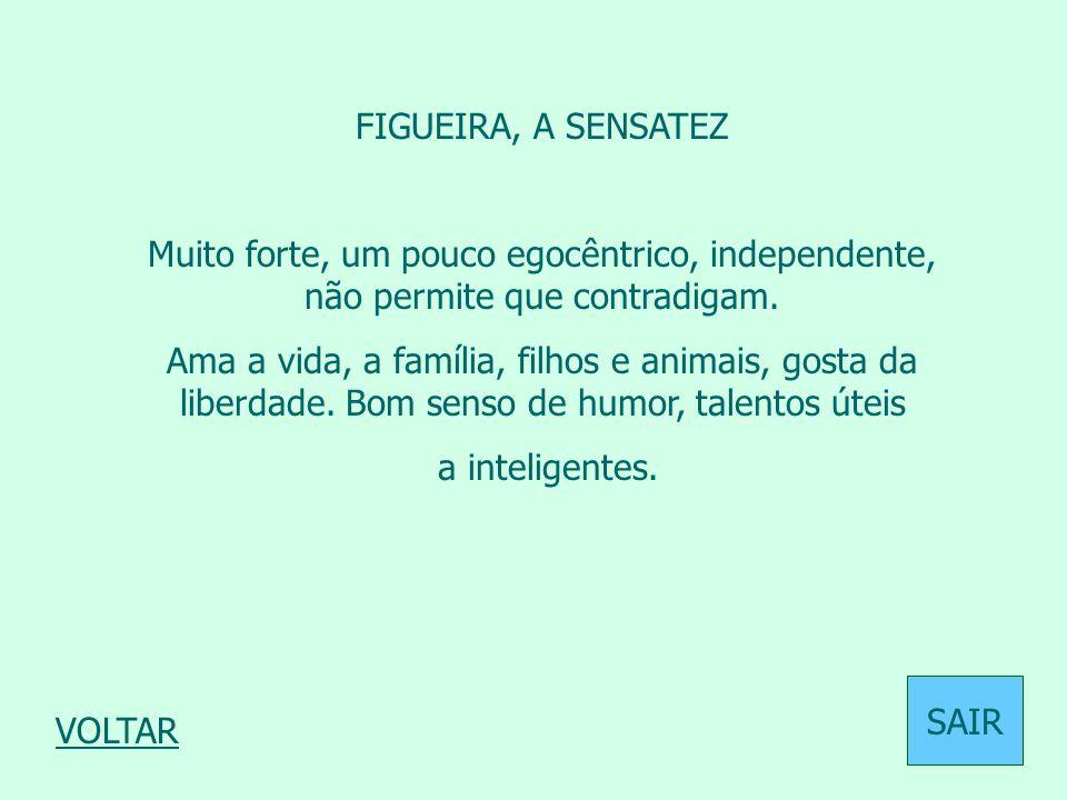 FIGUEIRA, A SENSATEZ Muito forte, um pouco egocêntrico, independente, não permite que contradigam. Ama a vida, a família, filhos e animais, gosta da l