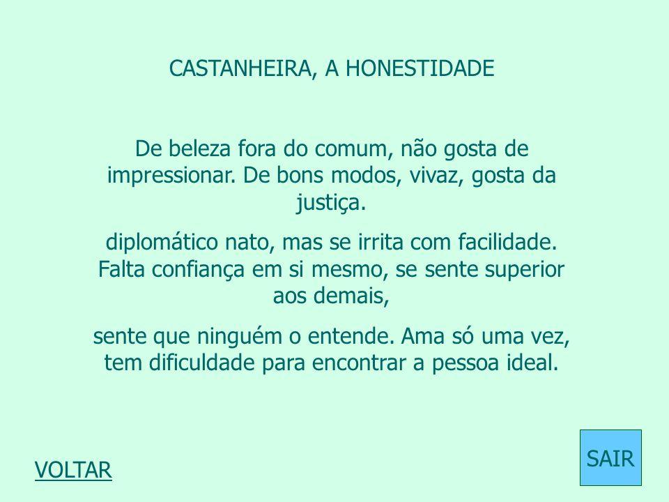 CASTANHEIRA, A HONESTIDADE De beleza fora do comum, não gosta de impressionar. De bons modos, vivaz, gosta da justiça. diplomático nato, mas se irrita