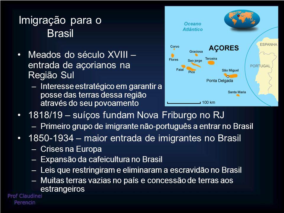 Imigração para o Brasil Meados do século XVIII – entrada de açorianos na Região Sul –Interesse estratégico em garantir a posse das terras dessa região