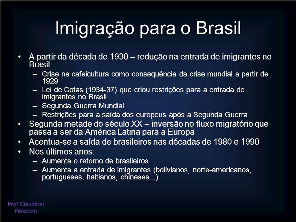 Imigração para o Brasil A partir da década de 1930 – redução na entrada de imigrantes no Brasil –Crise na cafeicultura como consequência da crise mundial a partir de 1929 –Lei de Cotas (1934-37) que criou restrições para a entrada de imigrantes no Brasil –Segunda Guerra Mundial –Restrições para a saída dos europeus após a Segunda Guerra Segunda metade do século XX – inversão no fluxo migratório que passa a ser da América Latina para a Europa Acentua-se a saída de brasileiros nas décadas de 1980 e 1990 Nos últimos anos: –Aumenta o retorno de brasileiros –Aumenta a entrada de imigrantes (bolivianos, norte-americanos, portugueses, haitianos, chineses...)