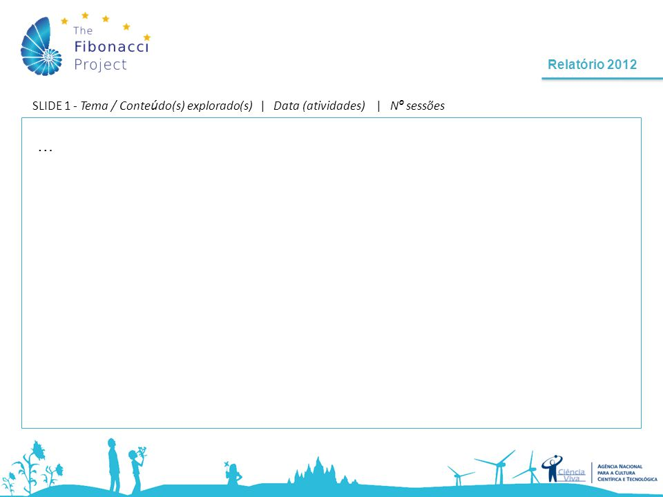 Relatório 2012 SLIDE 1 - Tema / Conte ú do(s) explorado(s) | Data (atividades) | N º sessões …