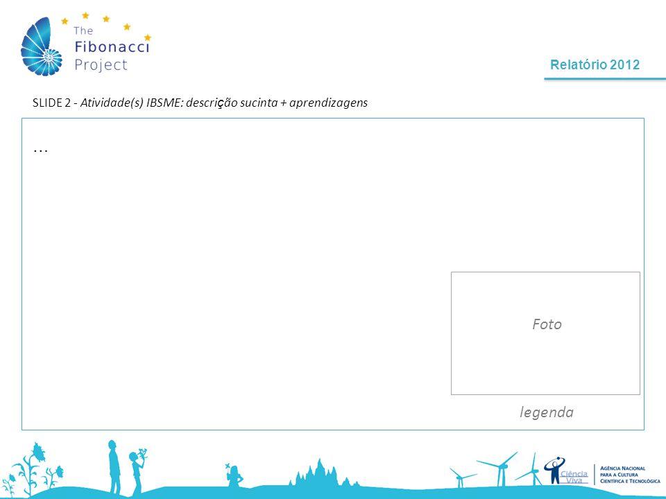 Relatório 2012 SLIDE 3 - Atividade(s) IBSME: descri ç ão sucinta + aprendizagens (cont.) legenda.