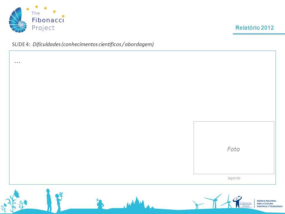 Relatório 2012 SLIDE 4: Dificuldades (conhecimentos científicos / abordagem) legenda Foto …