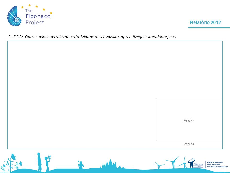 Relatório 2012 SLIDE 5: Outros aspectos relevantes (atividade desenvolvida, aprendizagens dos alunos, etc) legenda Foto