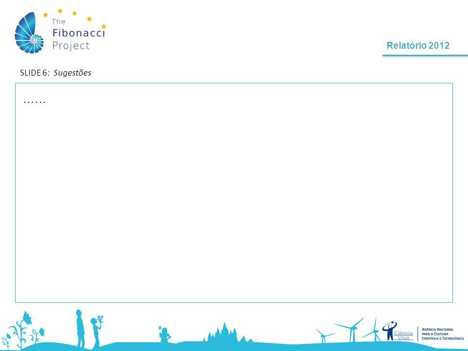 Relatório 2012 SLIDE 7 - Nome do(a) formando(a) | Escola e localidade | Nivel de Ensino | Ano de escolaridade | N º alunos Fibonacci: A Ciência no Ensino Básico e Pré-escolar …