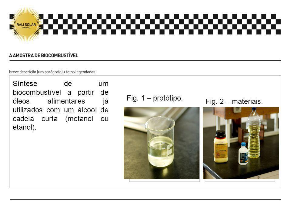 Síntese de um biocombustível a partir de óleos alimentares já utilizados com um álcool de cadeia curta (metanol ou etanol). Fig. 1 – protótipo. Fig. 2