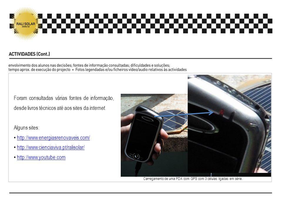 Carregamento de uma PDA com GPS com 3 células ligadas em série. Foram consultadas várias fontes de informação, desde livros técnicos até aos sites da