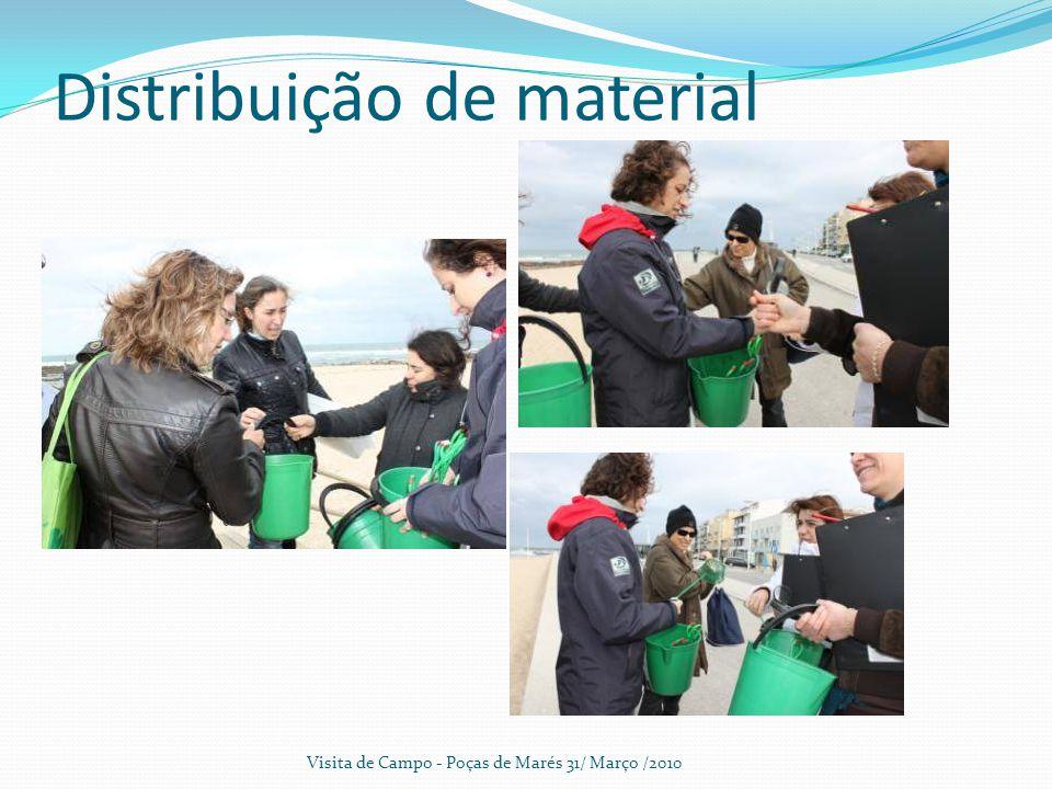 Distribuição de material Visita de Campo - Poças de Marés 31/ Março /2010