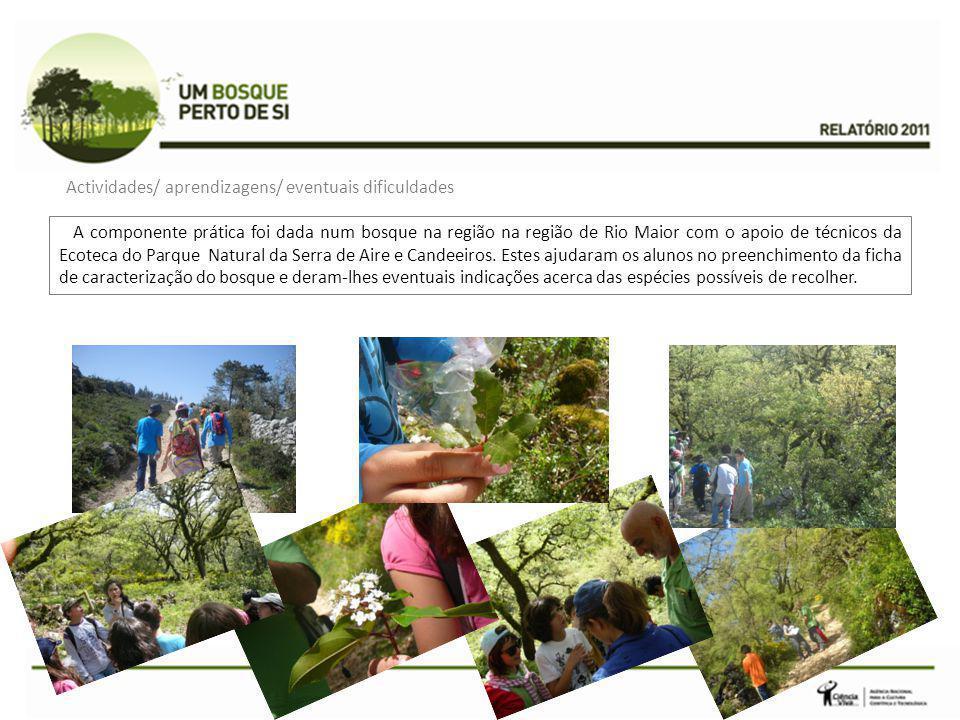 A componente prática foi dada num bosque na região na região de Rio Maior com o apoio de técnicos da Ecoteca do Parque Natural da Serra de Aire e Cand