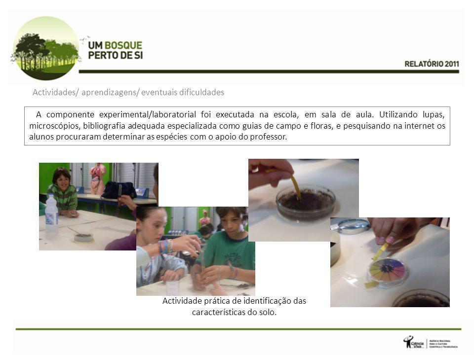 A componente experimental/laboratorial foi executada na escola, em sala de aula. Utilizando lupas, microscópios, bibliografia adequada especializada c