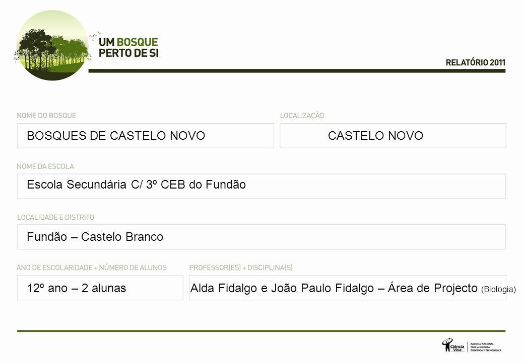 BOSQUES DE CASTELO NOVOCASTELO NOVO Escola Secundária C/ 3º CEB do Fundão Fundão – Castelo Branco 12º ano – 2 alunasAlda Fidalgo e João Paulo Fidalgo – Área de Projecto (Biologia)