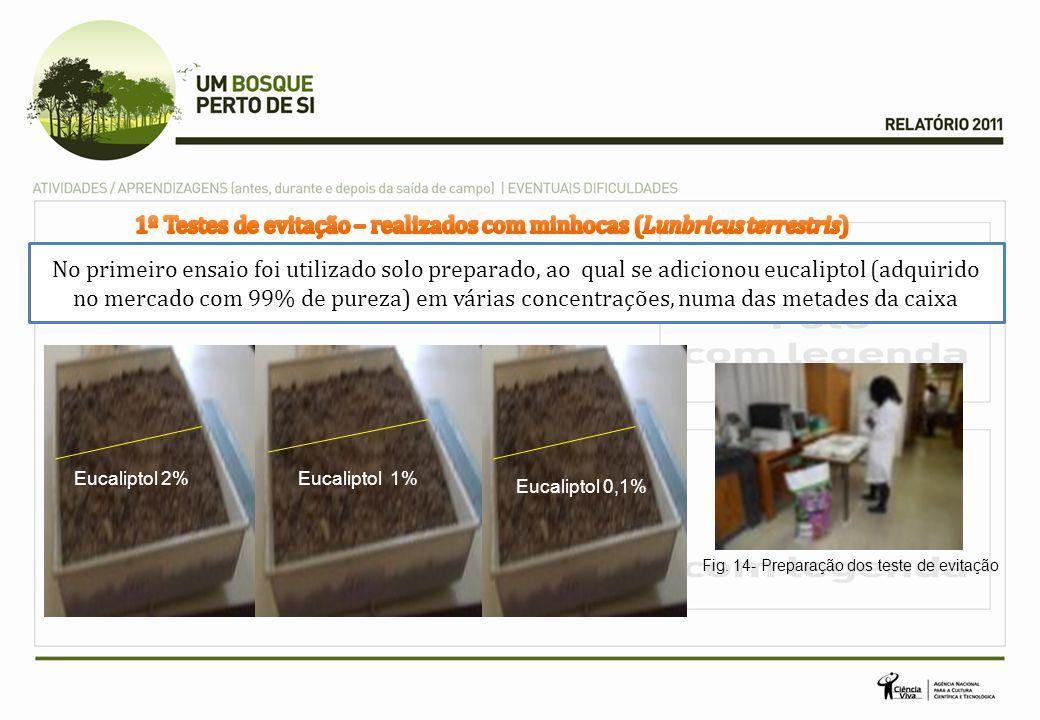 No primeiro ensaio foi utilizado solo preparado, ao qual se adicionou eucaliptol (adquirido no mercado com 99% de pureza) em várias concentrações, numa das metades da caixa Eucaliptol 2% Eucaliptol 0,1% Eucaliptol 1% Fig.