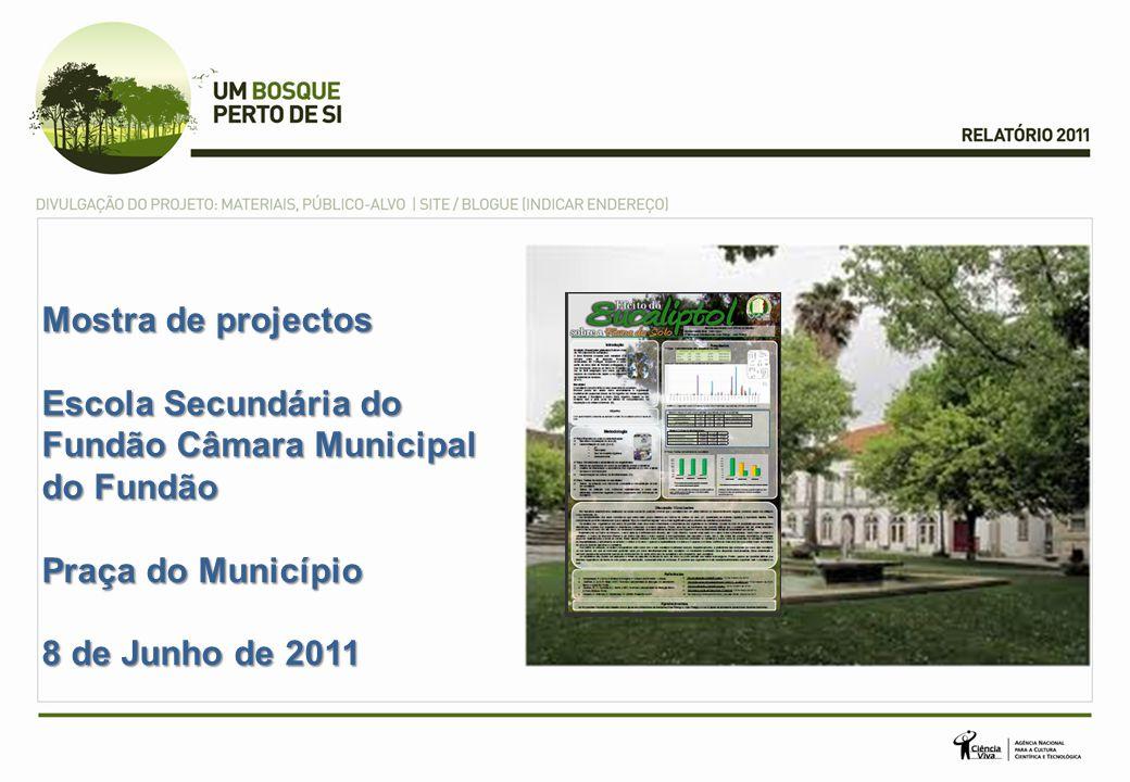 Mostra de projectos Escola Secundária do Fundão Câmara Municipal do Fundão Praça do Município 8 de Junho de 2011