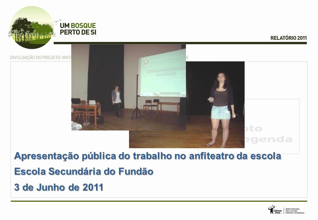 Apresentação pública do trabalho no anfiteatro da escola Escola Secundária do Fundão 3 de Junho de 2011