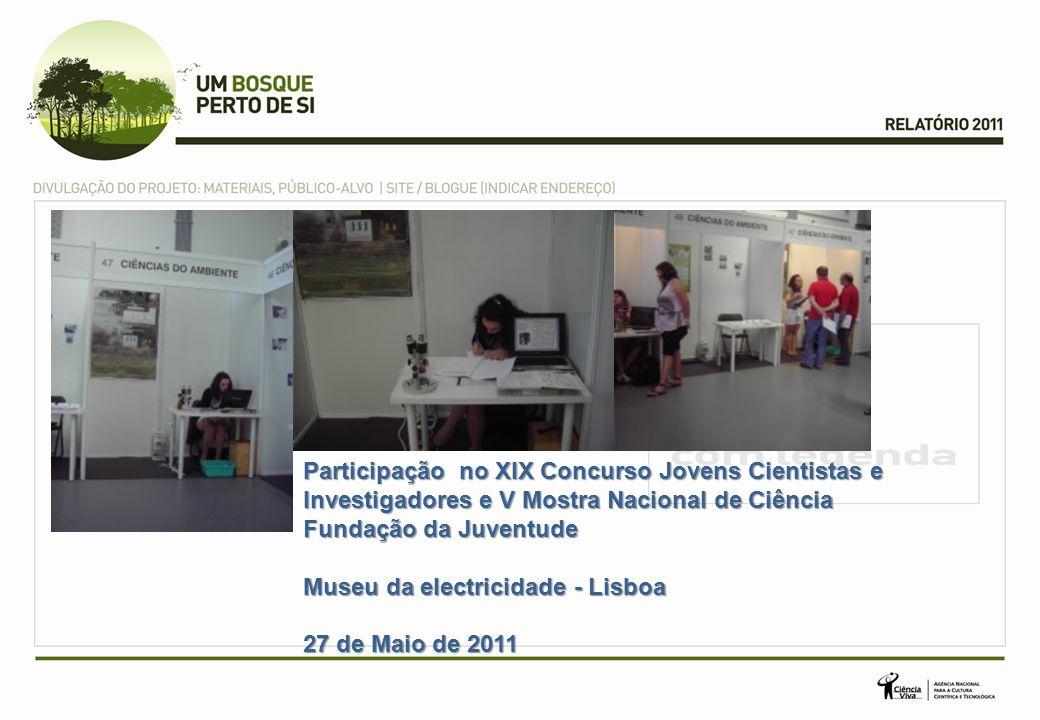 Participação no XIX Concurso Jovens Cientistas e Investigadores e V Mostra Nacional de Ciência Participação no XIX Concurso Jovens Cientistas e Investigadores e V Mostra Nacional de Ciência Fundação da Juventude Museu da electricidade - Lisboa 27 de Maio de 2011