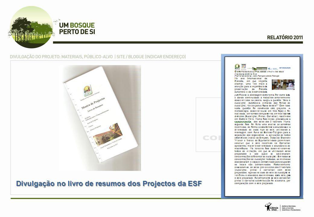 Divulgação no livro de resumos dos Projectos da ESF