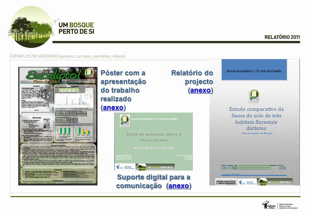 Póster com a apresentação do trabalho realizado (anexo) anexo Relatório do projecto (anexo) anexo Suporte digital para a comunicação (anexo) anexo