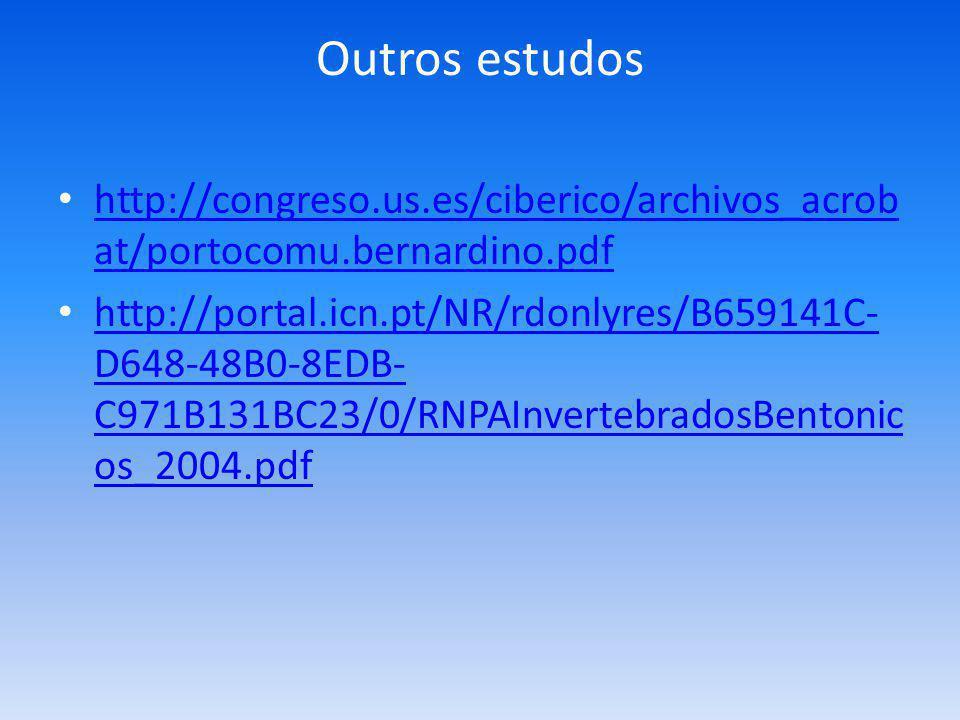 Outros estudos http://congreso.us.es/ciberico/archivos_acrob at/portocomu.bernardino.pdf http://congreso.us.es/ciberico/archivos_acrob at/portocomu.bernardino.pdf http://portal.icn.pt/NR/rdonlyres/B659141C- D648-48B0-8EDB- C971B131BC23/0/RNPAInvertebradosBentonic os_2004.pdf http://portal.icn.pt/NR/rdonlyres/B659141C- D648-48B0-8EDB- C971B131BC23/0/RNPAInvertebradosBentonic os_2004.pdf