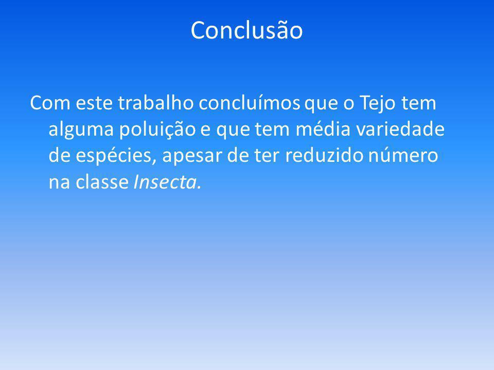 Conclusão Com este trabalho concluímos que o Tejo tem alguma poluição e que tem média variedade de espécies, apesar de ter reduzido número na classe Insecta.